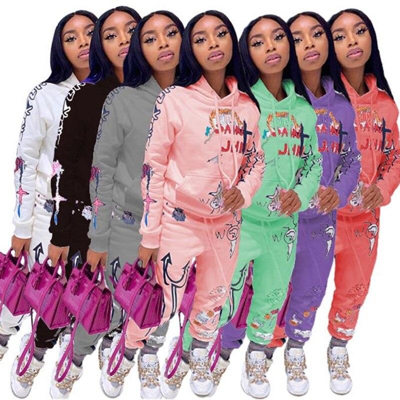 2 peça conjunto de roupas femininas outono inverno com capuz jaqueta superior calças esportivas sweatsuit jogger outfit conjunto de correspondência atacado dropshipping