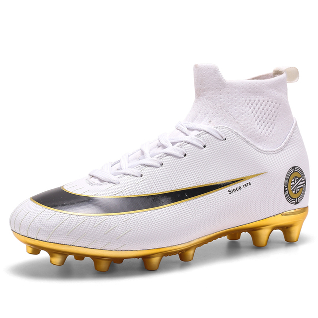 White Golden Men Football Boots High Ankle Soccer Shoe Women Soft Groud Man Trainer Gym Botas De Futbol Socks Cleats Training 4