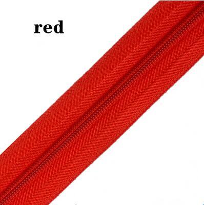 5 м длинная молния нейлон 3# пододеяльник подушка одеяло невидимая молния двойная молния черный и белый - Цвет: RED