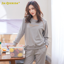 Pijamas Women Couple Lingerie Pjs Home-Suits Plus-Size 100%Pure-Cotton Autumn Grey Solid