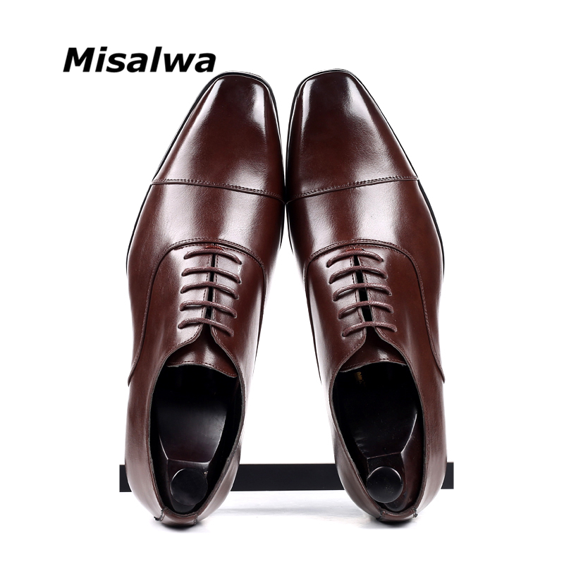 Misalwa Cap-toe Classic Men Dress Shoes Wing-tip Derby PU Leather Big Size 38-46 3.5CM Heel Elegant Suit Business Formal Oxfords