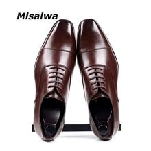 Misalwa Cap-toe Classic Men Dress Shoes Wing-tip Derby PU Leather Big Size 38-46 3.5CM Heel Elegant Suit Business Formal Oxfords