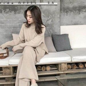 Image 2 - Cbafu outono inverno 2 peça conjunto feminino terno de malha solto meia gola alta camisola pernas largas calças terno treino p546