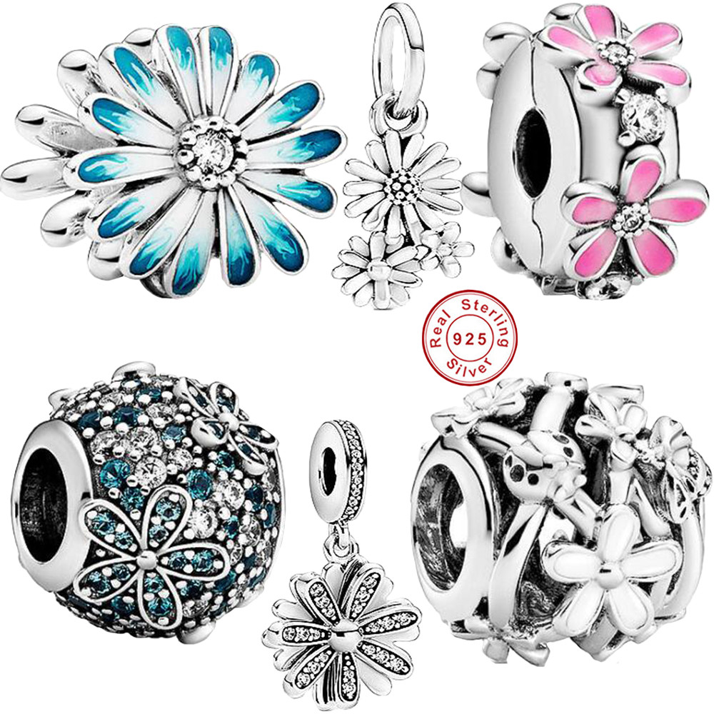 New Spring 925 Silver Pave Shiny CZ Blue Daisy Series Charms Beads Fit Original Bracelet Necklace DIY Jewelry