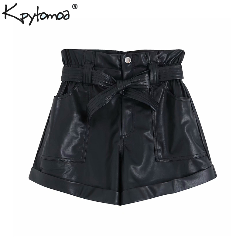 Vintage Stylish Faux Leather High Waist Shorts Women 2020 Fashion Zipper Fly Bow Tie Sashes Pockets Short Pants Chic Pantalones