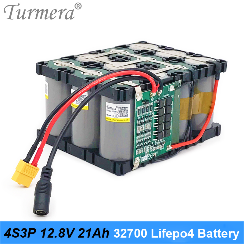 Turmera 12.8V 21Ah 4S3P <font><b>32700</b></font> Lifepo4 <font><b>Battery</b></font> <font><b>Pack</b></font> with 4S 40A Balanced BMS for Electric Boat and Uninterrupted Power Supply 12V image