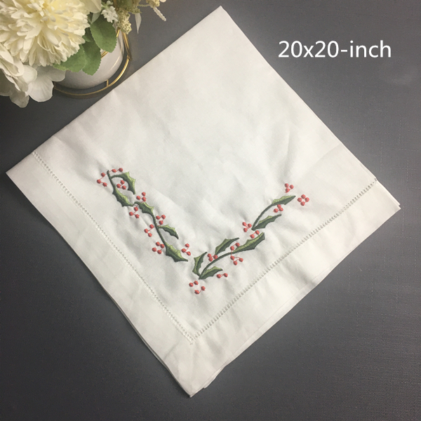 Set Of 12 Fashion Wedding Napkins White Hemstitched Linen Table Napkin With Color Embroidered Floral Dinner Napkins 20x20-inch