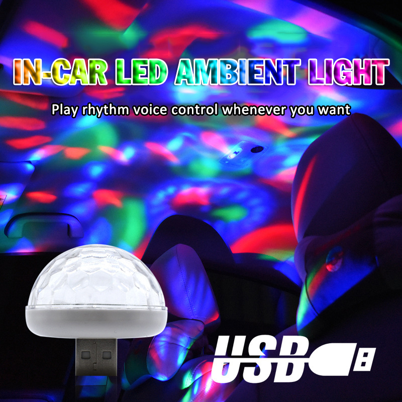Mini USB Led Party Lights Portable Crystal Magic Ball Home Party Karaoke Decorations Colorful Stage LED Disco Light Car Decor