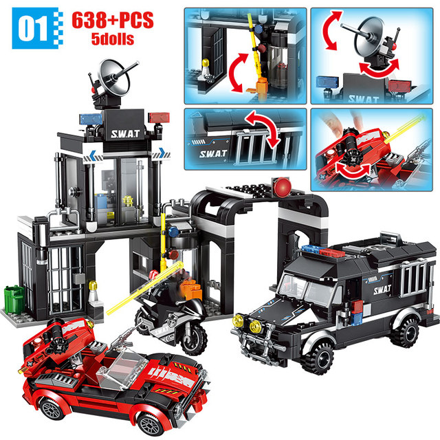 Diy Military Swat Robbed Prison Car Helicopter Ship Building Blocks for  City Police Sation Figures Bricks Toy for Boys