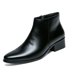 2019 Genuine Leather Men Ankle Boots Fashion Chelsea Black Comfortable Footwear MND50