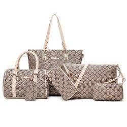 6 шт., женская сумка, набор, модная женская сумка из искусственной кожи, 8 надписей, наплечная сумка, кошелек, сумки, известный бренд 2019