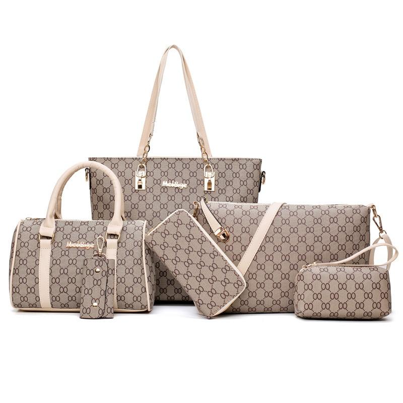 6PCS Women's Bag Set Fashion PU Leather Ladies Handbag 8 Words Print Messenger Shoulder Bag Wallet Bags Famous Brand 2019