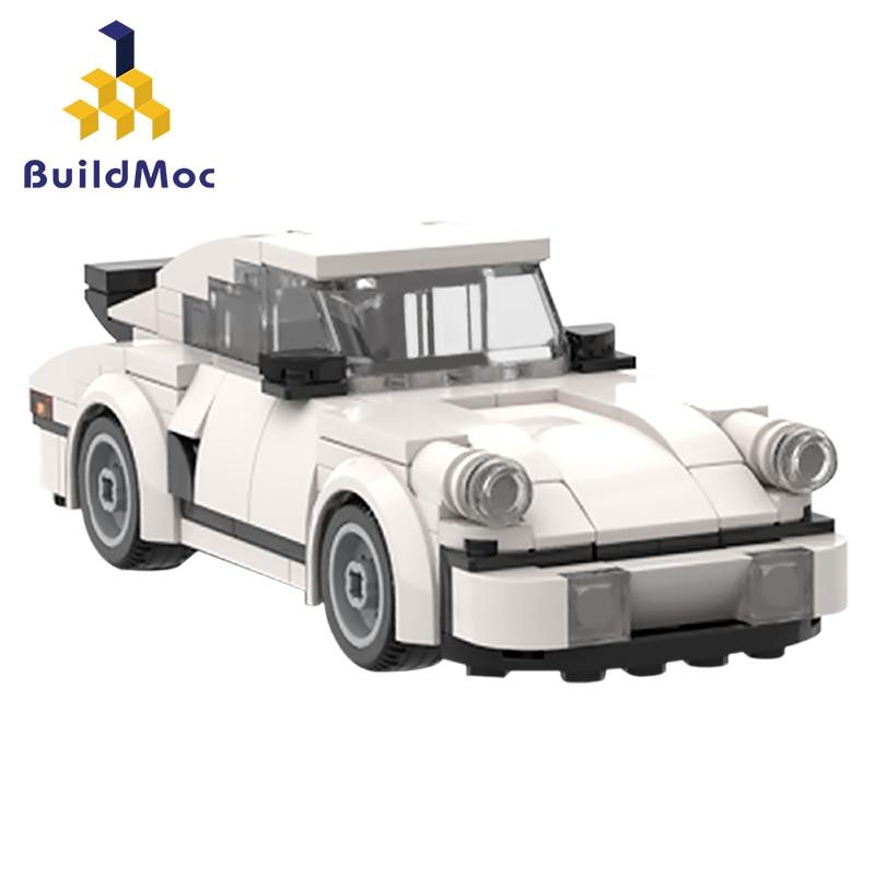 Buildmoc şehir süper araba yarışı yapı taşları teknİk spor araç geri Supercar çocuk hız tuğla oyuncaklar hediyeler
