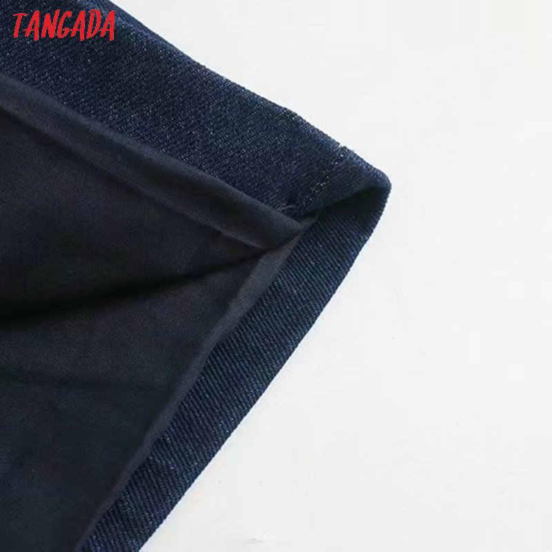 Tangada mode 2019 vrouwen denim blazer jassen vrouwelijke blauw oversize denim jas pocket merk designer uitloper 4M23
