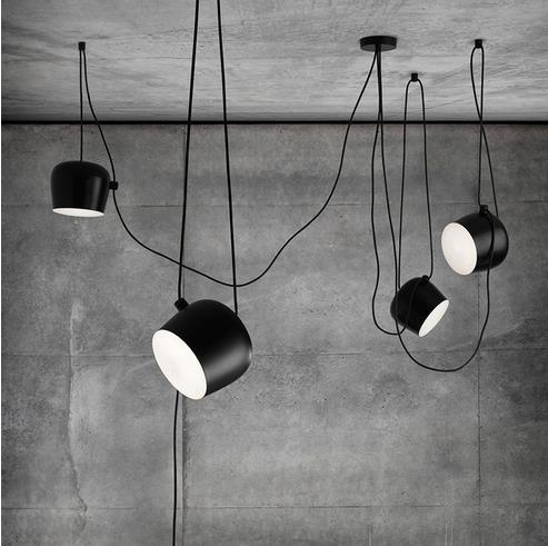 Nowoczesne przemysłowe żelaza pająk bęben wisiorek światła czarny zawieszenie oprawa bar salon wisząca lampa oprawy oświetleniowe