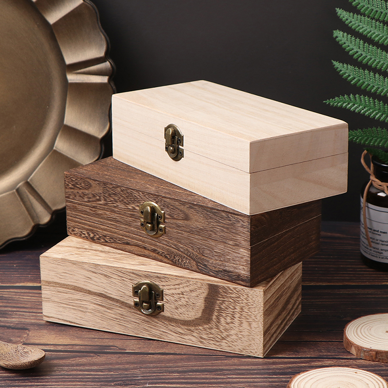 1 Pc Retro Jewelry Box Organizer Desktop Natural Wood Clamshell Storage Case Home Decoration Handcrafted Wooden Gift Boxes New
