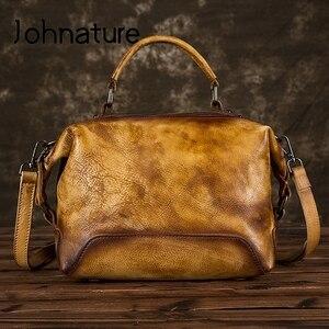 Image 2 - جوهناتشر رسمت باليد جلد طبيعي حقيبة يد فاخرة حقائب النساء 2020 جديد عادية حمل سعة كبيرة حقائب الكتف و Crossbody