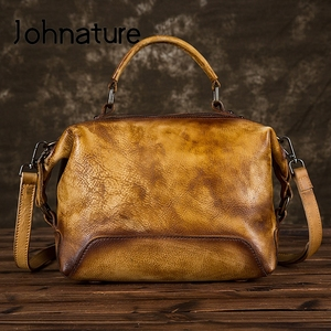 Image 2 - Johnature Hand Painted Genuine Leather Luxury Handbags Women Bags 2020 New Casual Tote Large Capacity Shoulder & Crossbody Bags