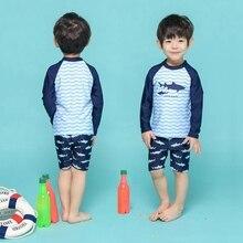 Купальный набор крышек для мальчиков, Детская рубашка с длинными рукавами+ шорты, пляжные купальные костюмы купальники