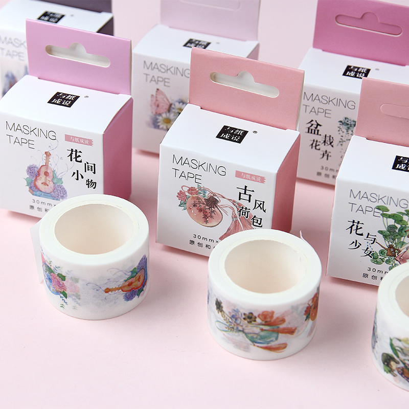 1 Pcs Kawaii Washi Tape Water Color Masking Tape Chinese Style Decorative Adhesive Tape Washi Stickers  Wide Washi Tape