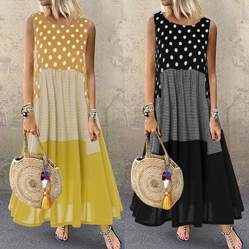 Bohemian Printed Maxi Dress Women's Ruffle Sundress 2020 ZANZEA Casual Sleeveless Polka Dot Tank Vestidos Female Patchwork Robe