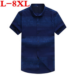 10XL 8XL plus size Men Shirts Brand Turn-down Collar Slim Fit Men Chemise Homme Casual Summer Business Shirt Mens Short Sleeve