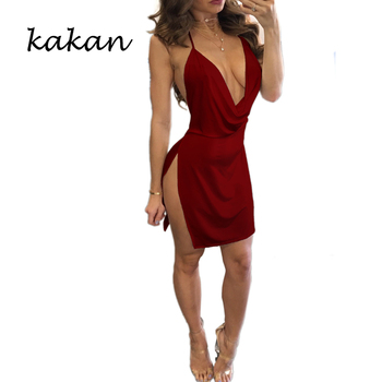 Kakan summer new womens suspender dress high slit sexy low-cut backless multi-color optional XS-3XL