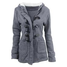 Women Cotton Overcoat 2019 Winter Casual Horn Button Hooded Blend Outwear Fashion Pocket Solid Buckles Female Coat Plus Size plus size hooded horn button coat