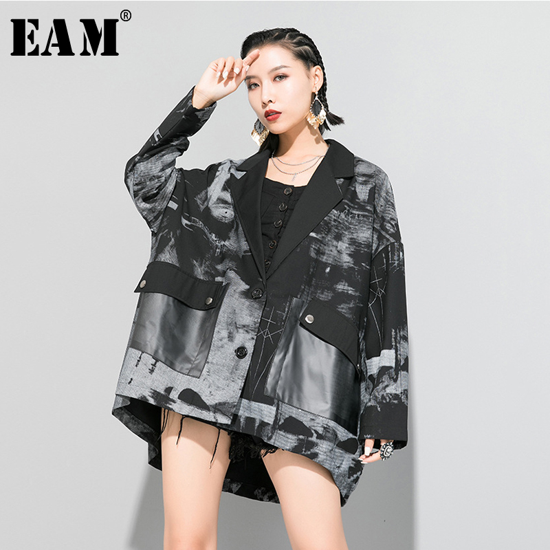 [EAM] Loose Fit White Pocket Pattern Printed Big Size Jacket New Lapel Long Sleeve Women Coat Fashion Tide Spring 2020 1R654