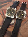 Роскошные брендовые новые мужские женские часы, хронограф, секундомер, сапфир, нержавеющая сталь, серебро, светящиеся, черная кожа, желтый, с...