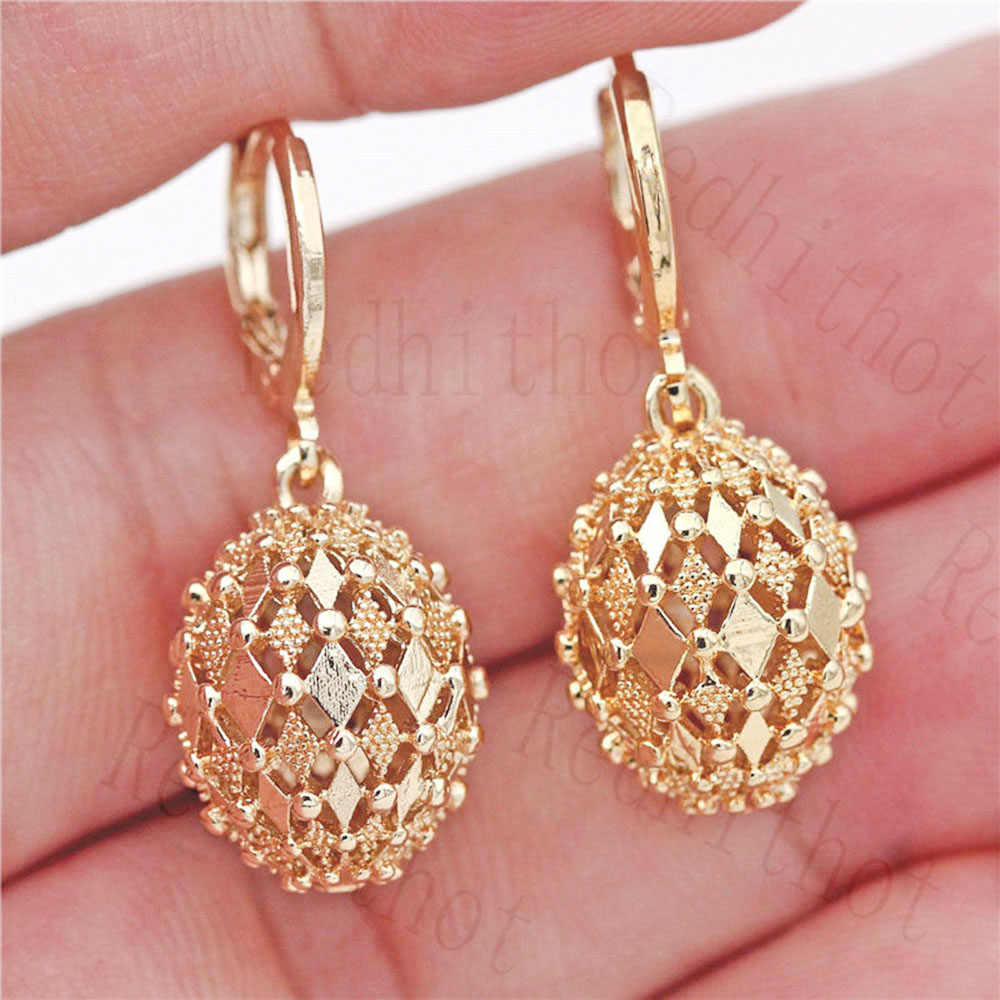 Pendientes Hiphop para mujer chapado en oro Disco Ball Flash Drop Earring redondo Rock Punk Earrings joyería de moda para Fiesta Club