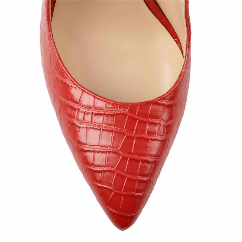 Onlymaker kadınlar 12CM Slingback yüksek topuklu pompalar kırmızı renk sivri burun ayak bileği kayışı moda sandalet büyük boy US5 ~ US15