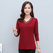 Women Basic Blouses Sequined V-neck Collar Design Red Blue Purple Plain Colour Slim Fit Long Sleeve Top Woman Spring Clothes New