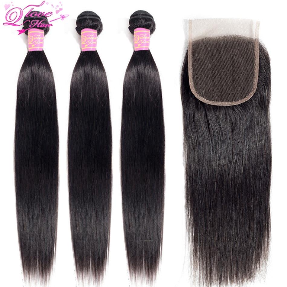 Queen Love Hair  Straight Hair Bundles With Closure  Remy Human Hair Bundles With Closure Malaysia Hair Weave Bundles