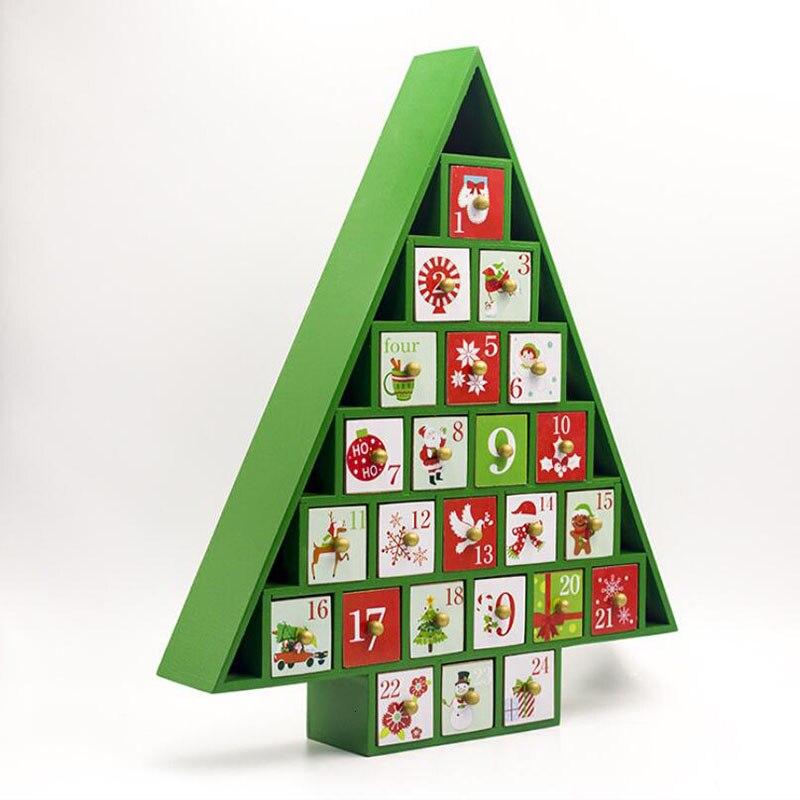 Новые рождественские украшения 2019 деревянный Рождественский обратный отсчет Календарь украшения для рождественской ёлки подарочные коробки украшения для дома - 6