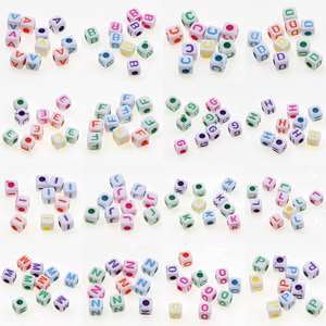 200pcs/lot 5mm Colorful Square Letter Acrylic Beads Alphabet Spacer Beads For Jewelry Making DIY Necklace Bracelet Accessories