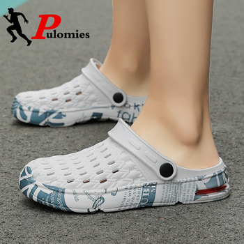 PULOMIES Summer Men and Women Sandals Men Slippers Casual Home Slippers Quick Dry Hole Clogs Couple Garden Shoes Beach Sandals фото