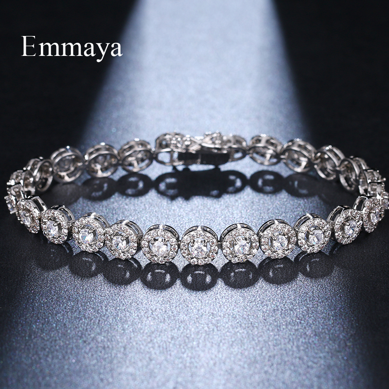 EMMAYA Season Arrival Dazzling Jewelry Three Colors Choice Round-shape Cubic Zircon Exquisite Bracelet For Female In Party