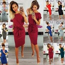 Black Women Office Dress Summer 2019 Belt Tunic Red Slim Midi Ladies Short Sleeve Plus Size Dresses 3XL