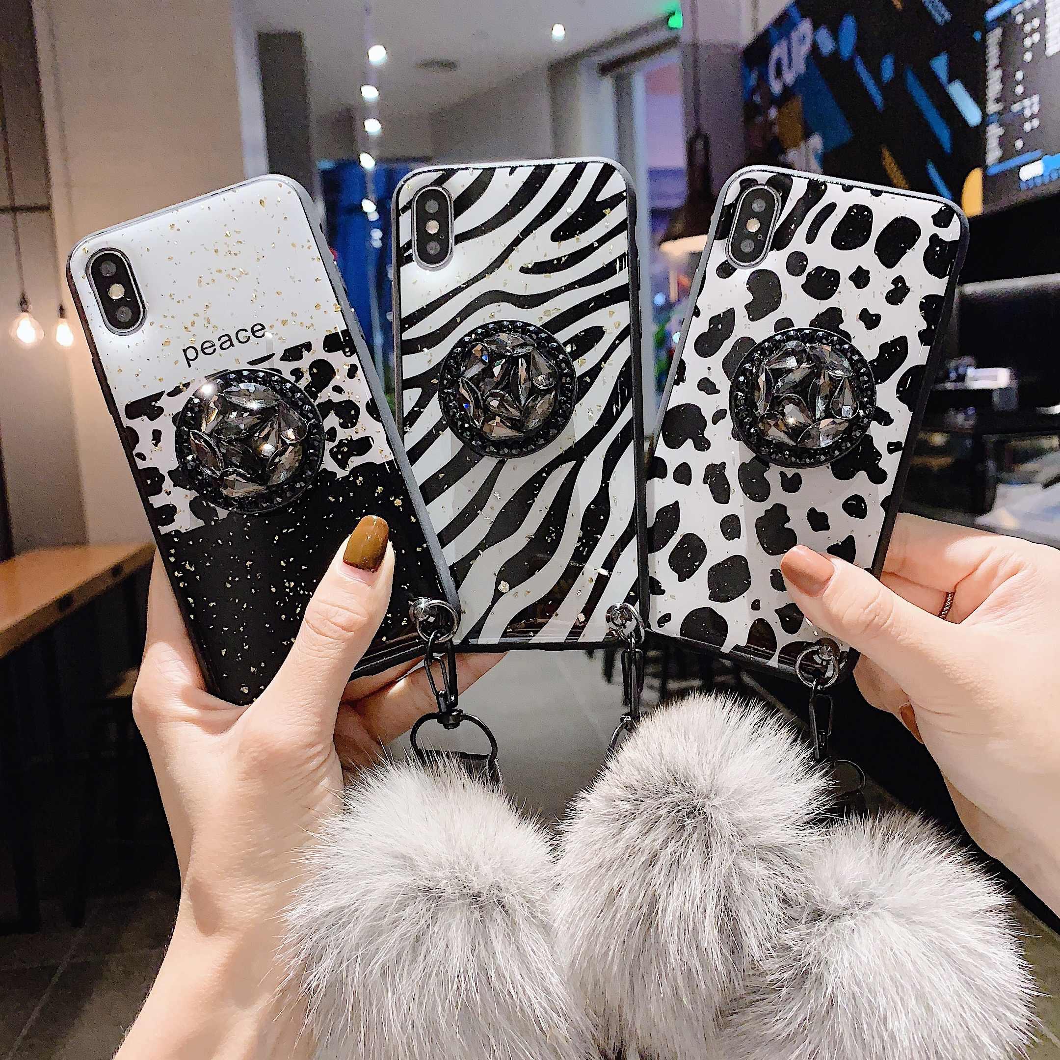 Для iPhone 11 Pro MAX 6 6splus 8Plus 7 Plus Чехол DIY Кристальный Держатель подставка меховой шар с ремешком цветы Любовь Сердце чехол для телефона