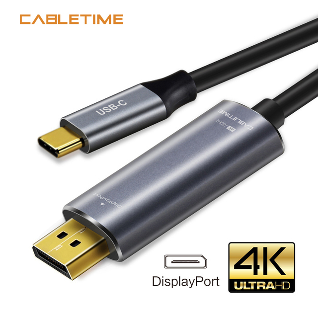 Cabletime USB C to DisplayPort Cable 4K 60Hz Type C USB 3.1 Thunderbolt 3 to DP 1.3 Adapter USB to DP UHD External Video  N101