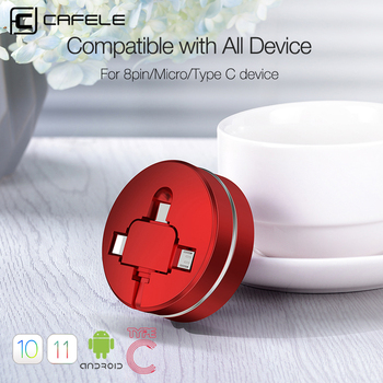 Cafele Retractable 3 in 1 USB Cable for iPhone XR Micro USB C Type Cable for Huawei Xiaomi Andriod Charging Cord Data Sync 100cm