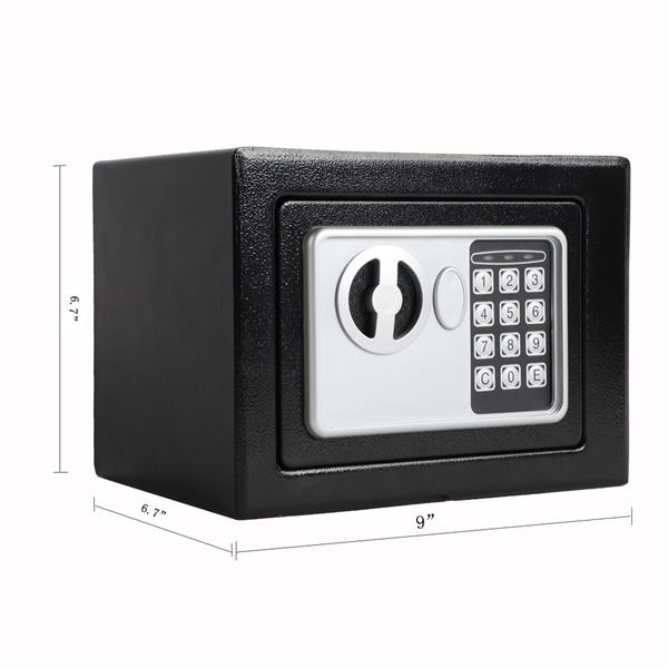 Mini Wall-in Style Electronic Code Metal Steel Box Safe Case 17EF Black