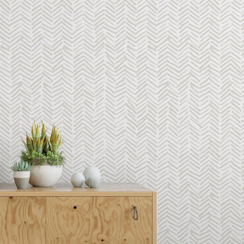 Papel pintado de espiga delicado moderno en colores grises claros, diseño escandinavo, papel tapiz extraíble