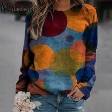 Big Size 5XL Women T Shirt Casual Long Sleeve Printed Fashion Pullover Geometric Circle Print Tops 2021 Spring Loose T Shirt
