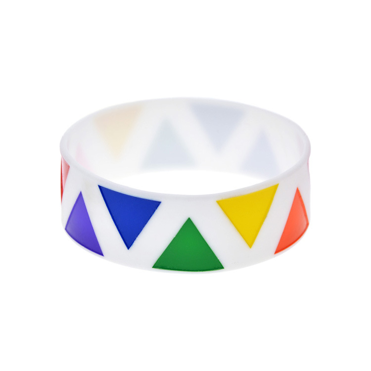 hot concave engraved fill Gay Pride silicone bracelet gay Rainbow 1 inch wide wrist strap spot in Bangles from Jewelry Accessories