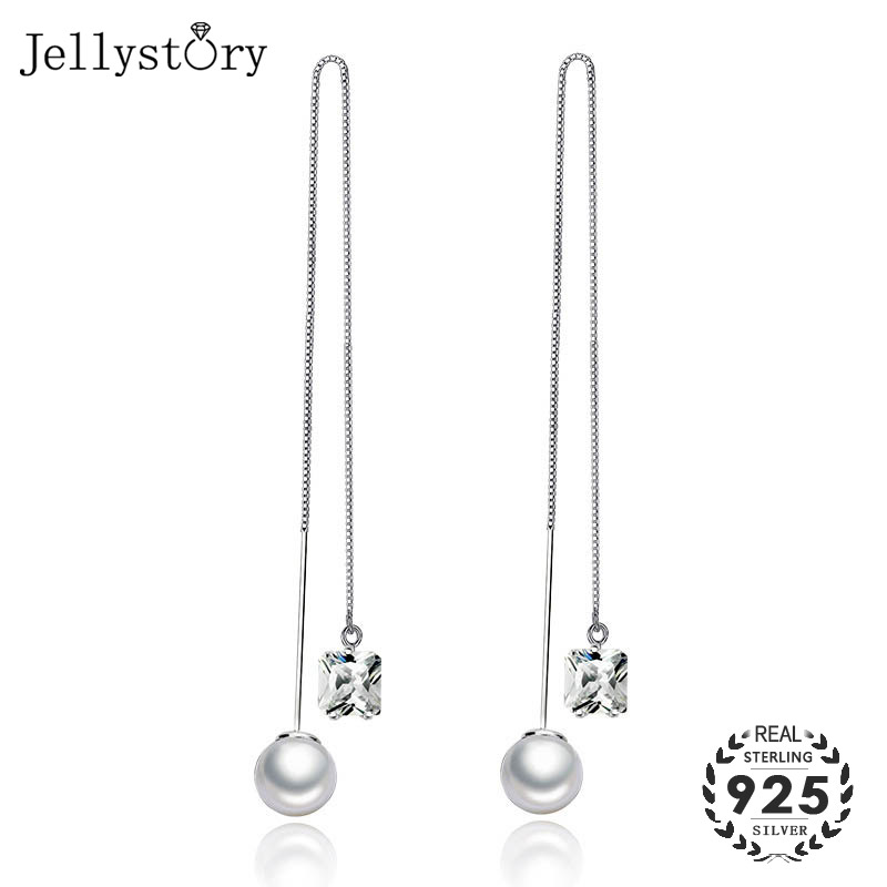 Jellystory Fashion Silver 925 Earrings With Freshwater Pearl Square Shape Emeral Gemstone Drop Earring For Women Wedding Jewelry
