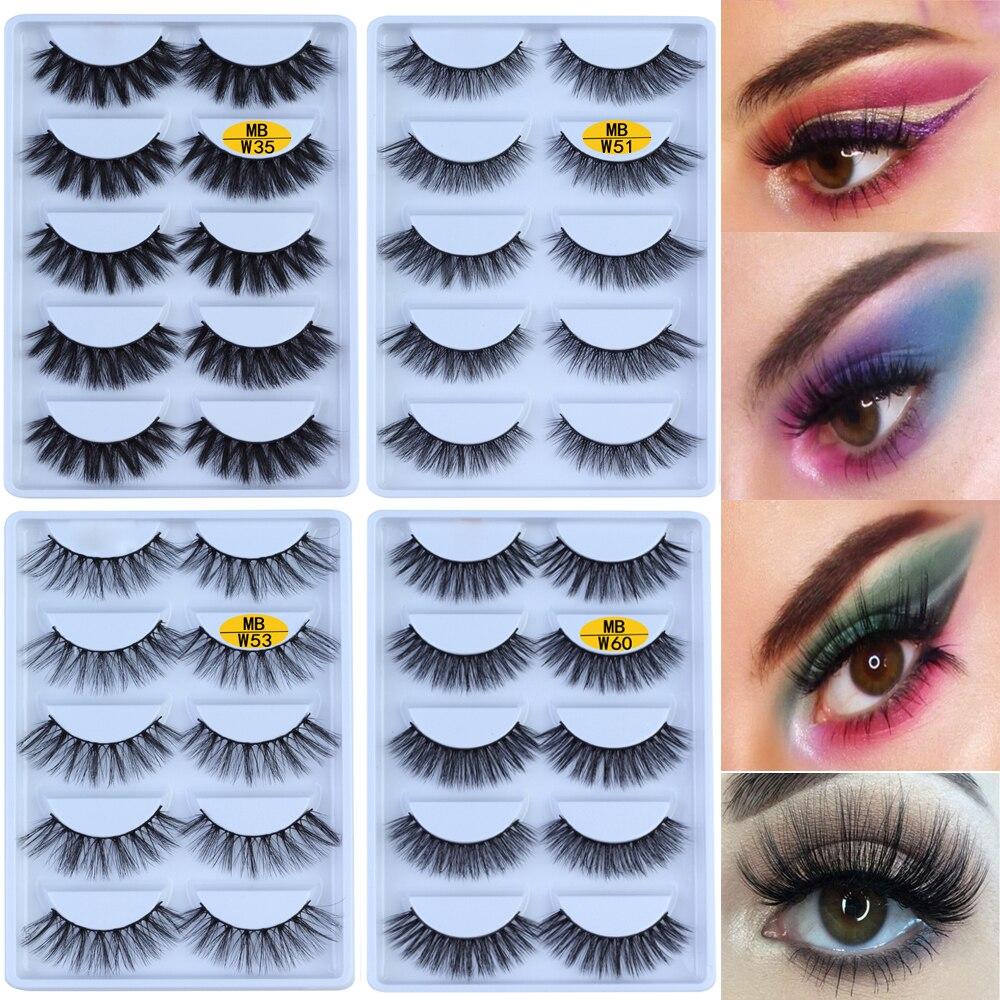 MB-W NOVO 5 pares 100% Cílios Vison 3D Maquiagem Cílios Postiços Cílios Tira Completa Cílios Falsos Maquiagem cils falso Fofo Macio eye lashes
