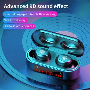 V9 Bluetooth 5.0 Earphones Digital Touch Mini Wireless Earbuds with LED Power Display Case 3D Stereo