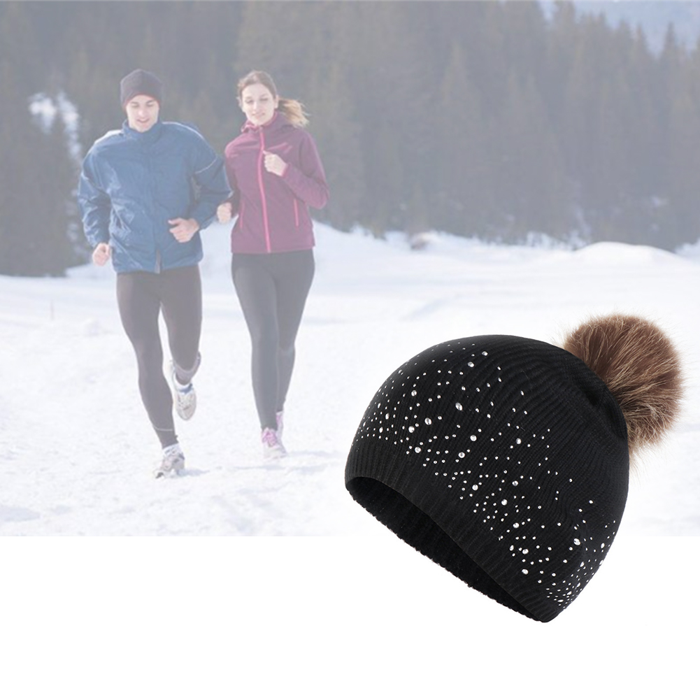 Women Plush Ball Soft Casual Hemming Elastic Outdoor Windproof Warm Rhinestone Studded Daily Knitted Hat Fashion Autumn Winter